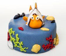 """Marcipánový dort """"Nemo"""". Cena 1200 Kč. Termín objednání 1 týden."""